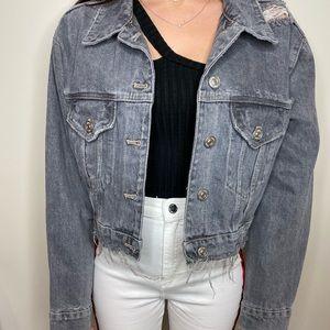 Zara grey distressed cropped denim jacket